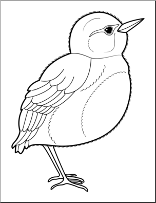 B&w bird clipart jpg freeuse library Clip Art: Baby Animals: Bird Fledgling B&W I abcteach.com | abcteach jpg freeuse library