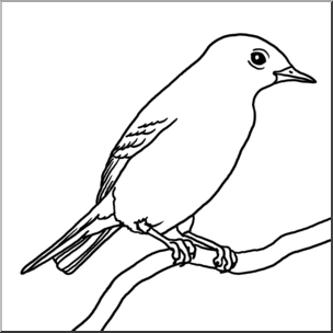 B&w bird clipart vector black and white library Clip Art: Mountain Bluebird B&W I abcteach.com | abcteach vector black and white library