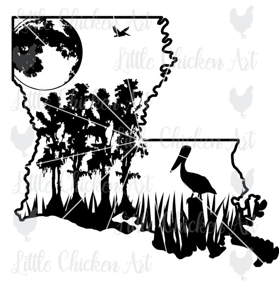 B&w clipart bayou cypress tree banner free library Louisiana Swamp Scene cut file / clip art by LittleChickenArt ... banner free library