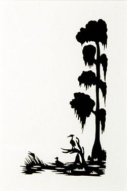 B&w clipart bayou cypress tree jpg freeuse stock Silhouette; Rice (Carew), signed, Duck & Heron in Cypress Swamp, 5 ... jpg freeuse stock