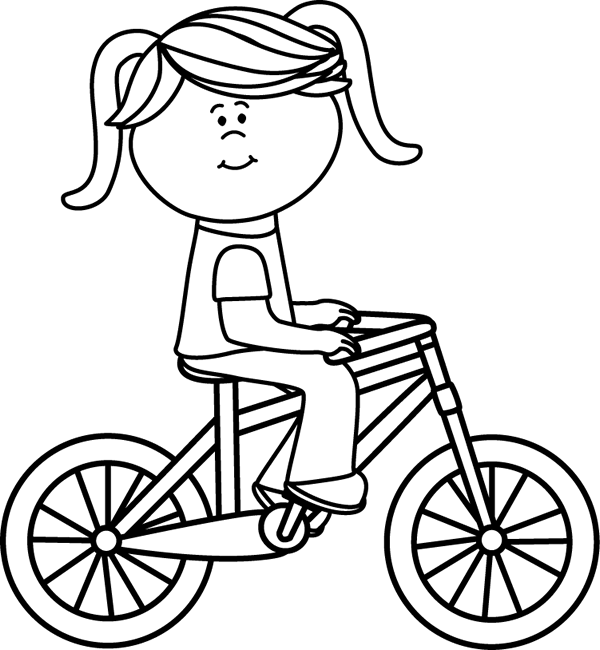 Bw clipart biking vector free stock Girl Riding a Bicycle | Reader Bee Free Printable Coloring Pages ... vector free stock