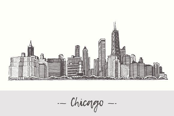 B&w clipart city pencil holder library Chicago skyline, USA by Bakani on @creativemarket | Illustrations ... library