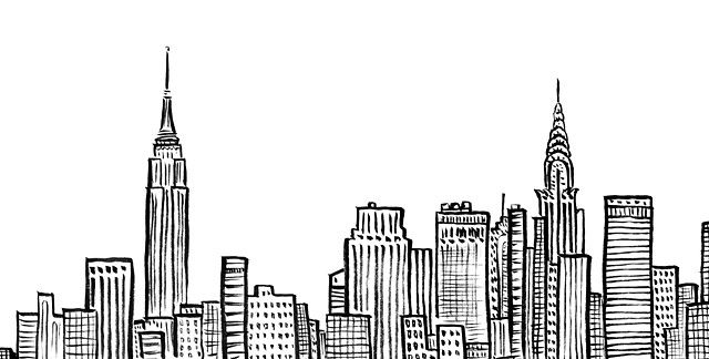 B&w clipart city pencil holder svg library stock New York City Skyline, NYC, Empire State, Chrystler Building, ink ... svg library stock
