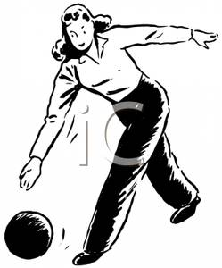 Bw clipart woman bowling clipart free Black and White Woman Bowling - Royalty Free Clipart Picture clipart free