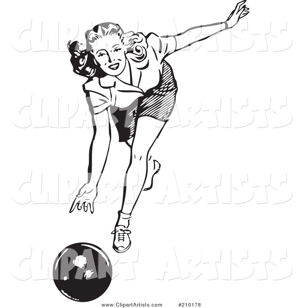 Bw clipart woman bowling picture transparent Retro Black And White Woman Bowling Clipart by BestVector picture transparent
