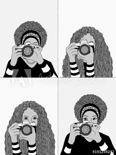 Bw clipart women photographing picture library Hand drawn illustrations of two young women taking photos, hiding ... picture library