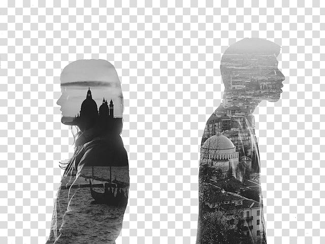 Bw clipart women photographing clip black and white library Diptych grapher Art, Double Exposure men and women transparent ... clip black and white library
