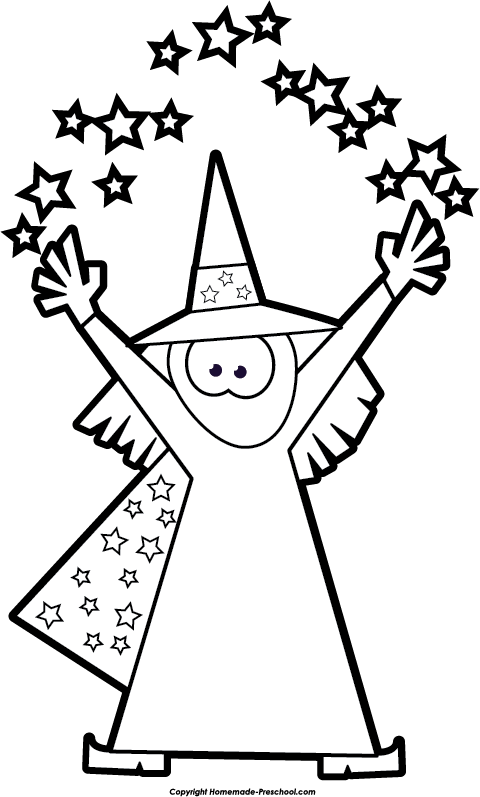 Preschool halloween clipart picture Images of Magic Clipart Black And White - #SpaceHero picture