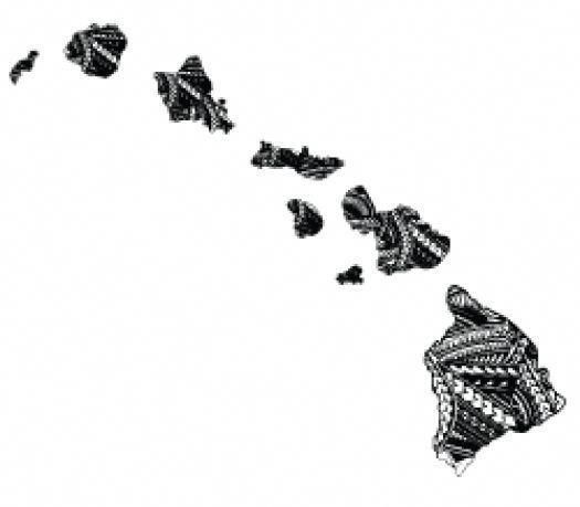 Bw map hawaii clipart picture black and white library TRIBAL ISLAND B/W FLAG HAWAIIAN MAP Hawaii Decal Car / Truck Window ... picture black and white library