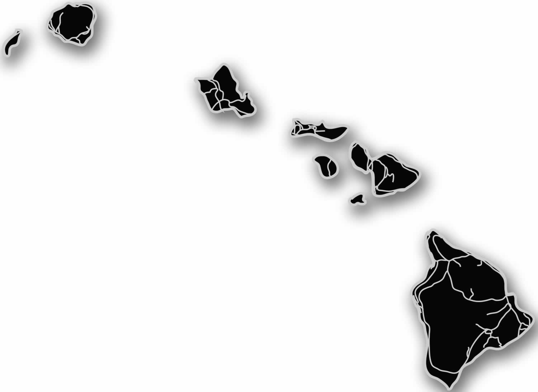 Bw map hawaii clipart jpg library Hawaii - Acrylic Cutout State Map jpg library