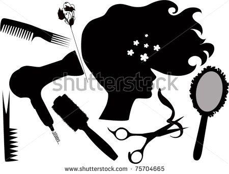 Cachos clipart graphic black and white stock clipart, Hair+scissors+ | cricut crafts | Bolo de cabeleireiro ... graphic black and white stock