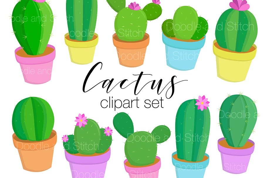 Cacttus clipart banner black and white stock Cute Cactus Clipart Illustrations banner black and white stock