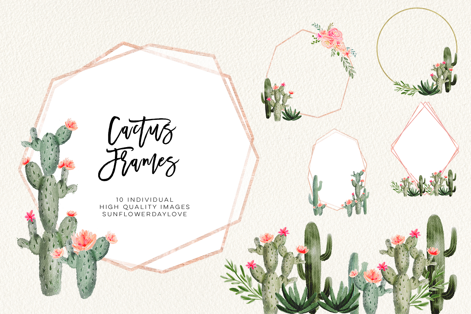 Cactus clipart border clip black and white Succulent cactus frames, succulent borders, Hand Painted Succulent frames,  Watercolor Cactus Cacti instant download, cactus clipart, floral - Vsual clip black and white