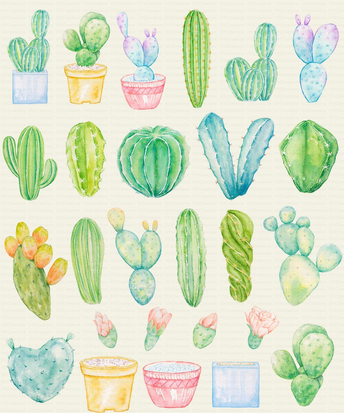 Cactus clipart border image freeuse stock Watercolor Greenish Cactus Clipart, Cacti Border Design, Tropical ... image freeuse stock