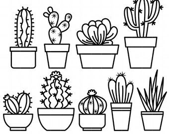 Cactus outline clipart graphic black and white Outline Cactus Digital Clip Art for Scrapbooking Card Making Cupcake ... graphic black and white