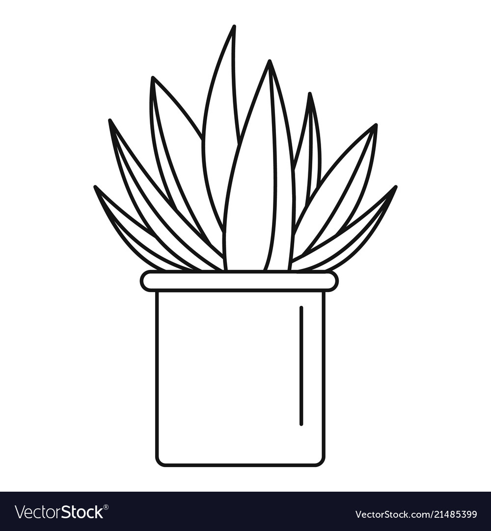 Cactus outline clipart image royalty free library Aloe cactus pot icon outline style image royalty free library