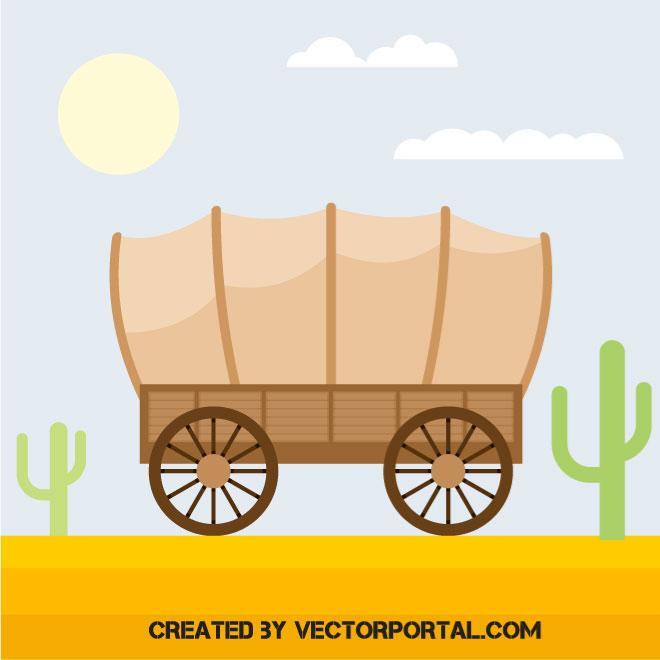 Cactus wagon wheel clipart picture transparent stock Covered wagon - Free vector image in AI and EPS format. picture transparent stock