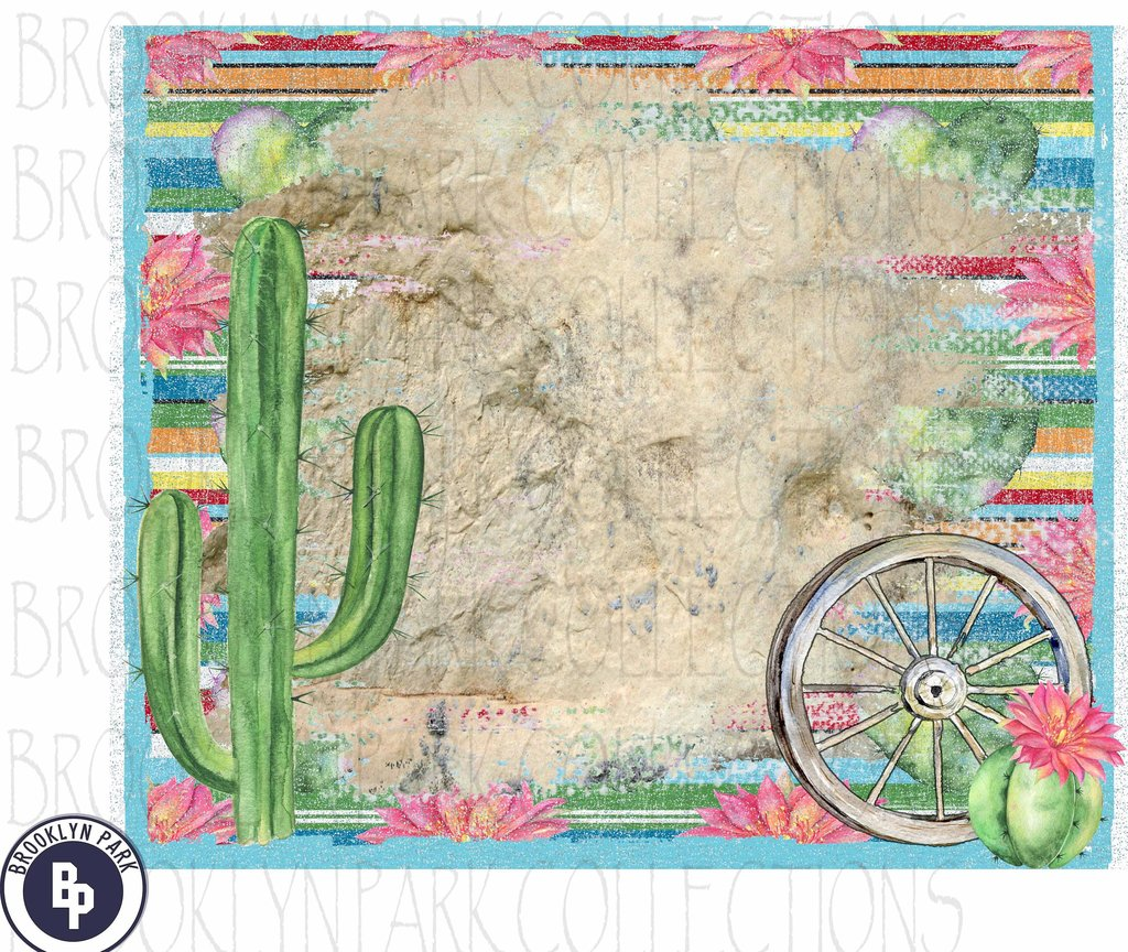 Cactus wagon wheel clipart vector transparent library Watercolor Cactus Frame Digital Download vector transparent library