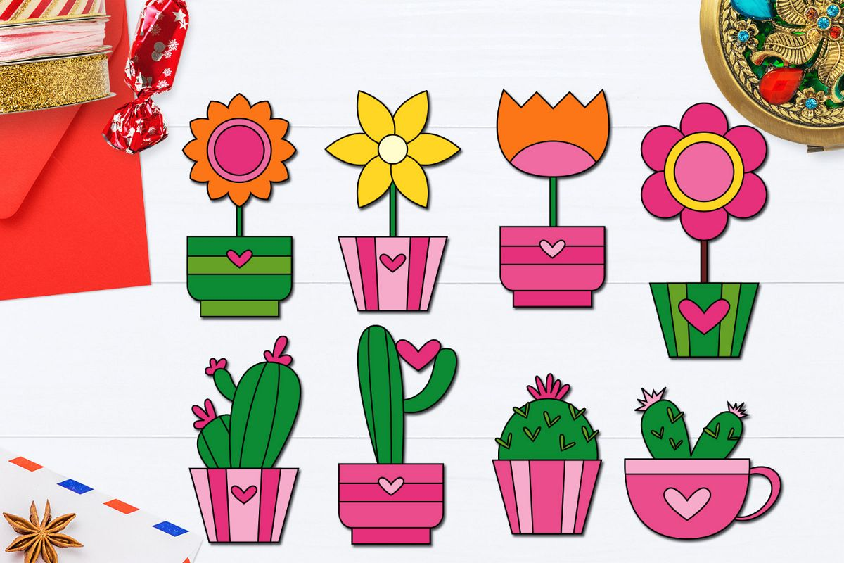 Cactus with flowers clipart vector library Valentine Cactus and Flower in Pot Clip art vector library