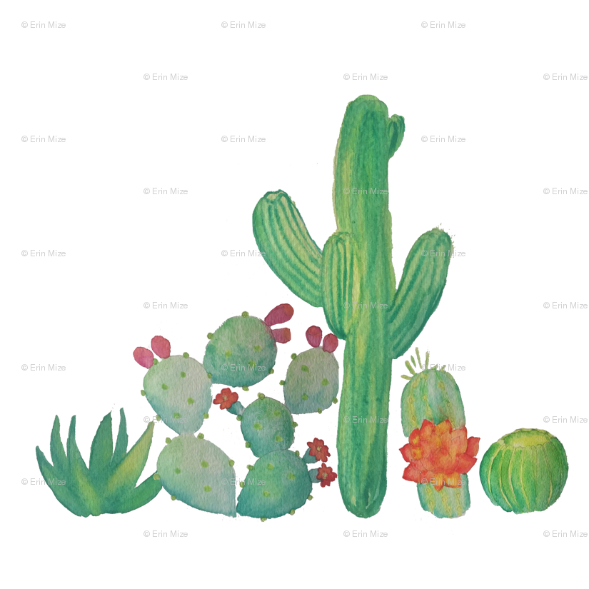 Cactus with mountains and sun clipart svg transparent library Watercolor Cacti fabric - erinmizedesigns - Spoonflower svg transparent library