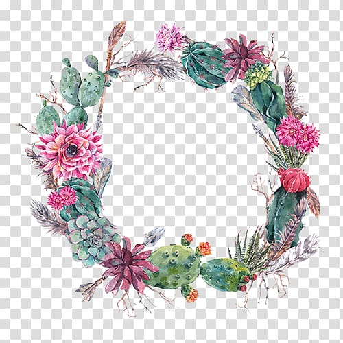 Cactus wreath clipart image transparent stock Flowers and cacti wreath illustration, Wedding invitation Cactaceae ... image transparent stock