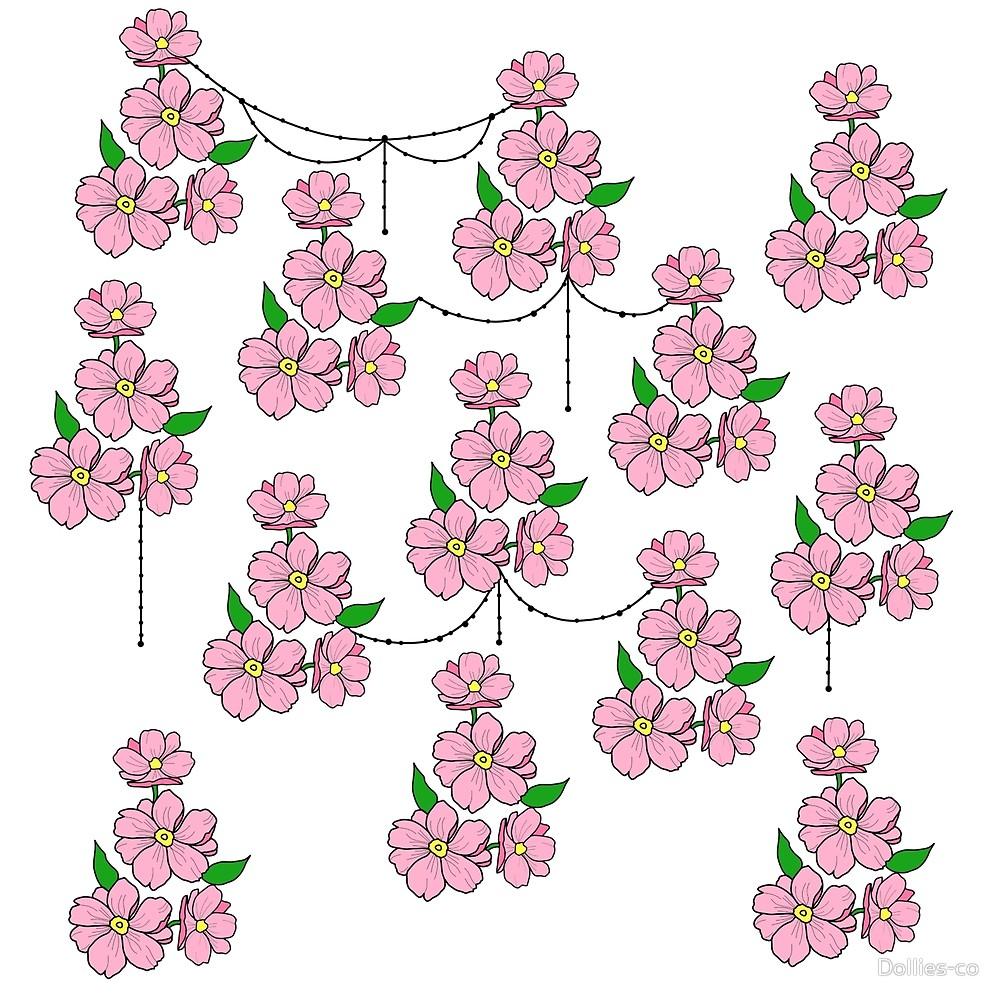 Cadena de flores clipart banner black and white Patrón de cadena de flores» de Dollies-co | Redbubble banner black and white