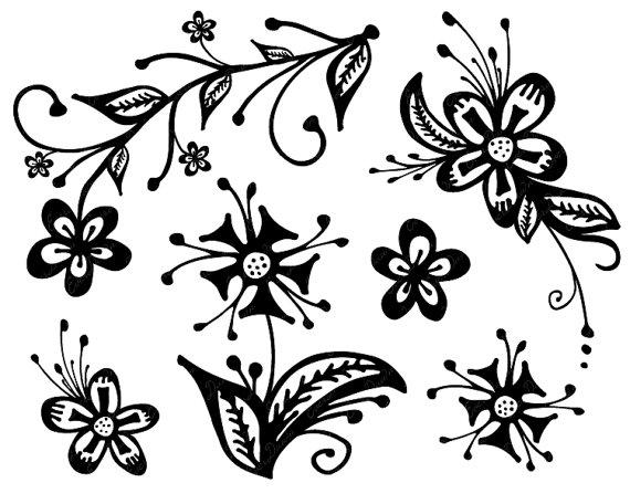 Cadena de flores clipart stock Frühlingsblumen clipart schwarz weiß 7 » Clipart Station stock