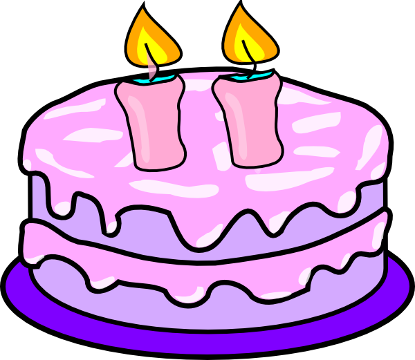 Cadles and cakes with pink candles clipart images svg library stock Cake With 2 Candles Clip Art at Clker.com - vector clip art online ... svg library stock