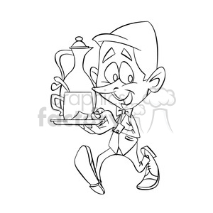 Cafe black and white clipart transparent library black and white image of male waiter nino con taza de cafe negro clipart.  Royalty-free clipart # 393931 transparent library