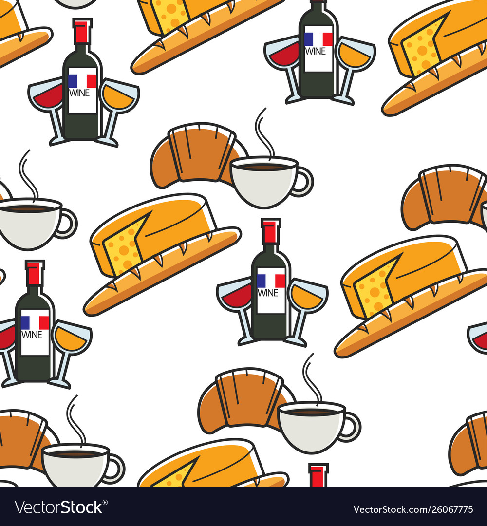 Cafe et baguette clipart jpg royalty free Cuisine and drinks french cheese and baguette wine vector image jpg royalty free