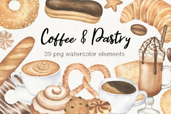 Cafe et baguette clipart png library library Coffee Watercolor Clipart, Bakery Graphics, Pastry Cookie Watercolor ... png library library