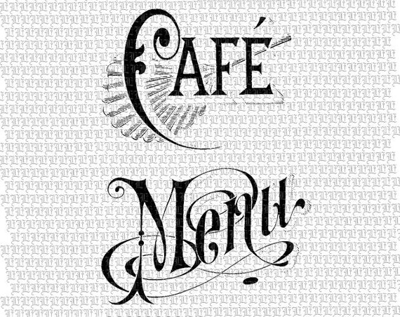 Cafe menu clipart image black and white stock Victorian Clipart French Coffee Shop Digital Collage Sheet Signs ... image black and white stock