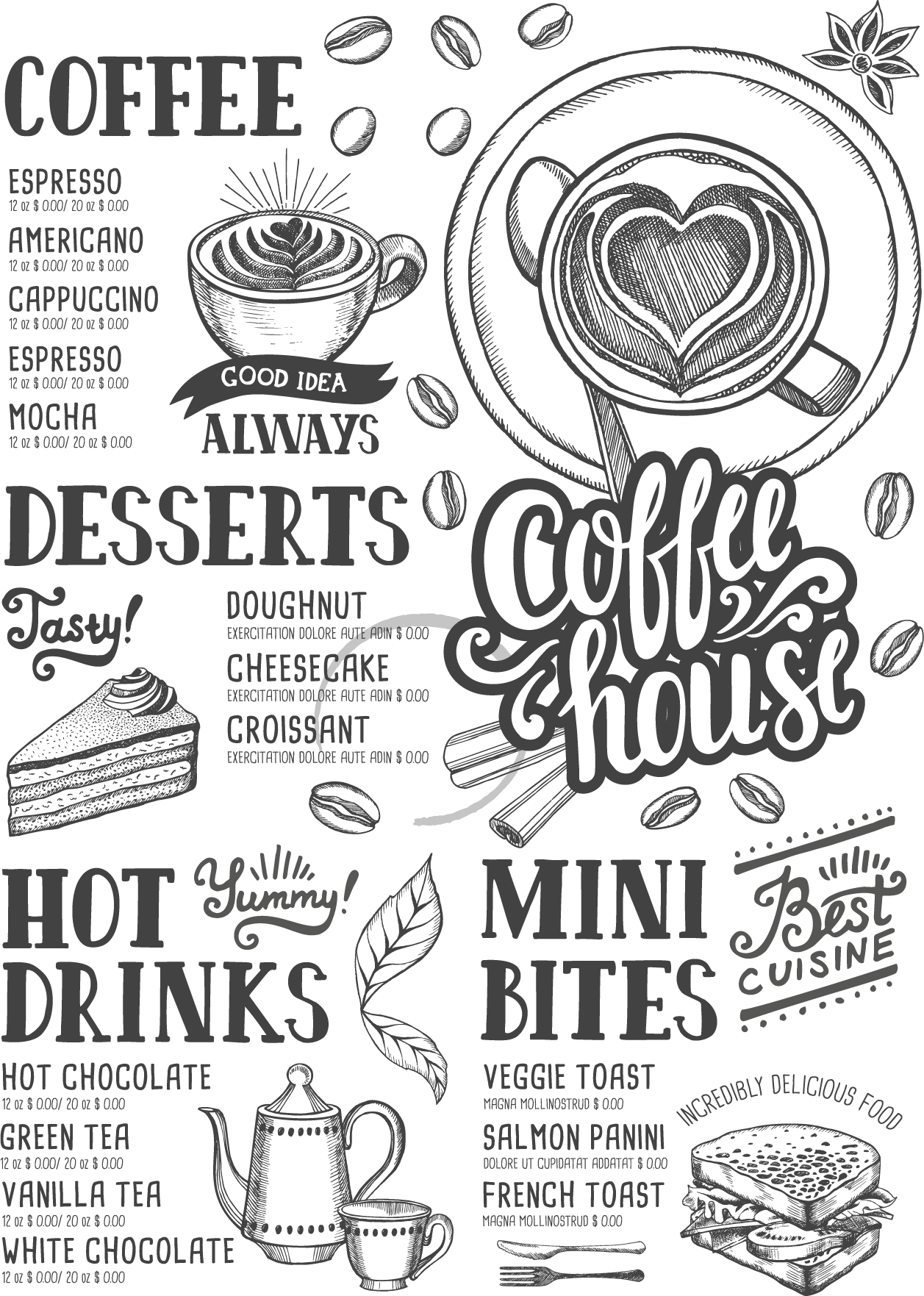 Cafe menu clipart clip freeuse library Download Shop Coffee Hamburger Tea Menu Cafe Clipart PNG Free ... clip freeuse library