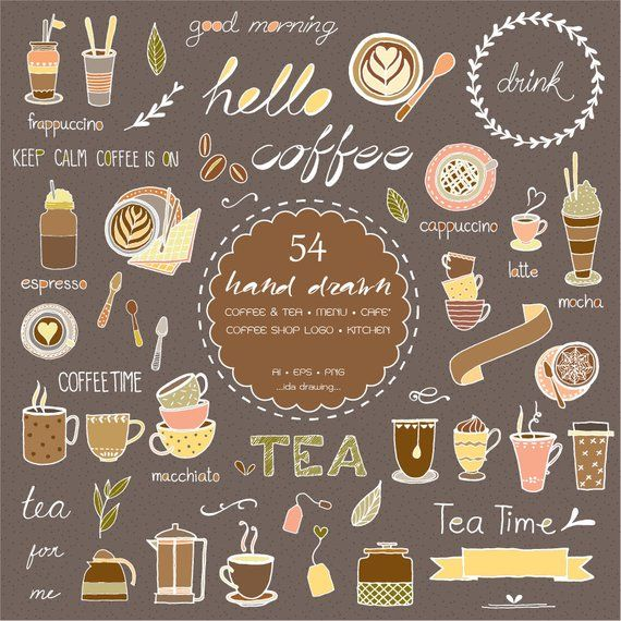 Cafe menu clipart image transparent download 54 Hand Drawn Coffee & Tea Digital Clipart - Coffee Shop Logo - Tea ... image transparent download