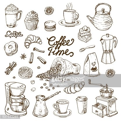 Cafe menu clipart png transparent download Collection of Coffee Doodle Elements for Cafe Menu, Fliers ... png transparent download