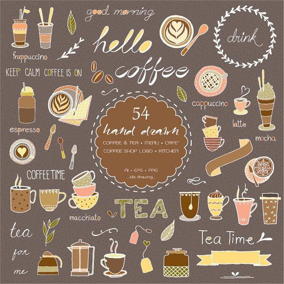 Cafe play menu clipart clip art royalty free download 54 Hand Drawn Coffee & Tea Digital Clipart - Coffee Shop Logo - Tea ... clip art royalty free download