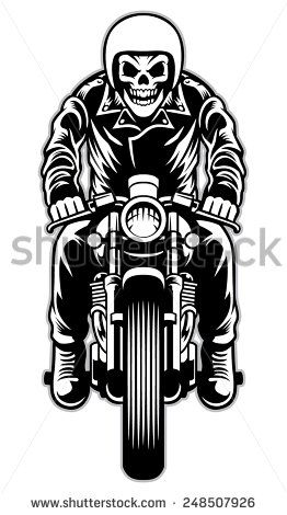 Cafe racer clipart black and white library skull riding a cafe racer motorcycle style | 06_stock in 2019 | Cafe ... black and white library