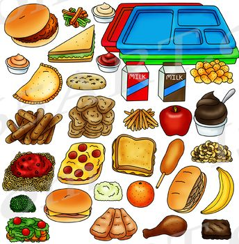 Cafeteria tray clipart vector royalty free library Cafeteria Food Clipart - Build A Lunch Tray Clip Art | Classroom ... vector royalty free library