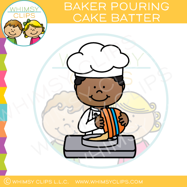 This and that clipart free stock Baker Pouring Cake Batter Clip Art free stock