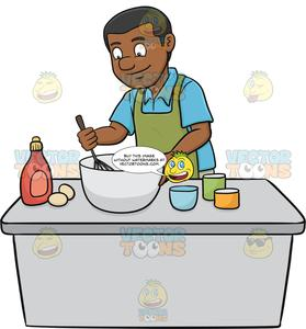 Cake batter clipart image freeuse download A Black Man Enjoys Mixing The Cake Batter image freeuse download