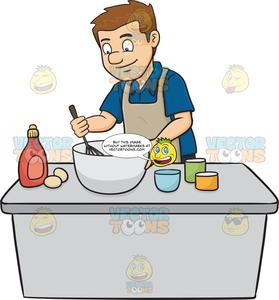Cake batter clipart picture library A Man Enjoys Mixing The Cake Batter picture library