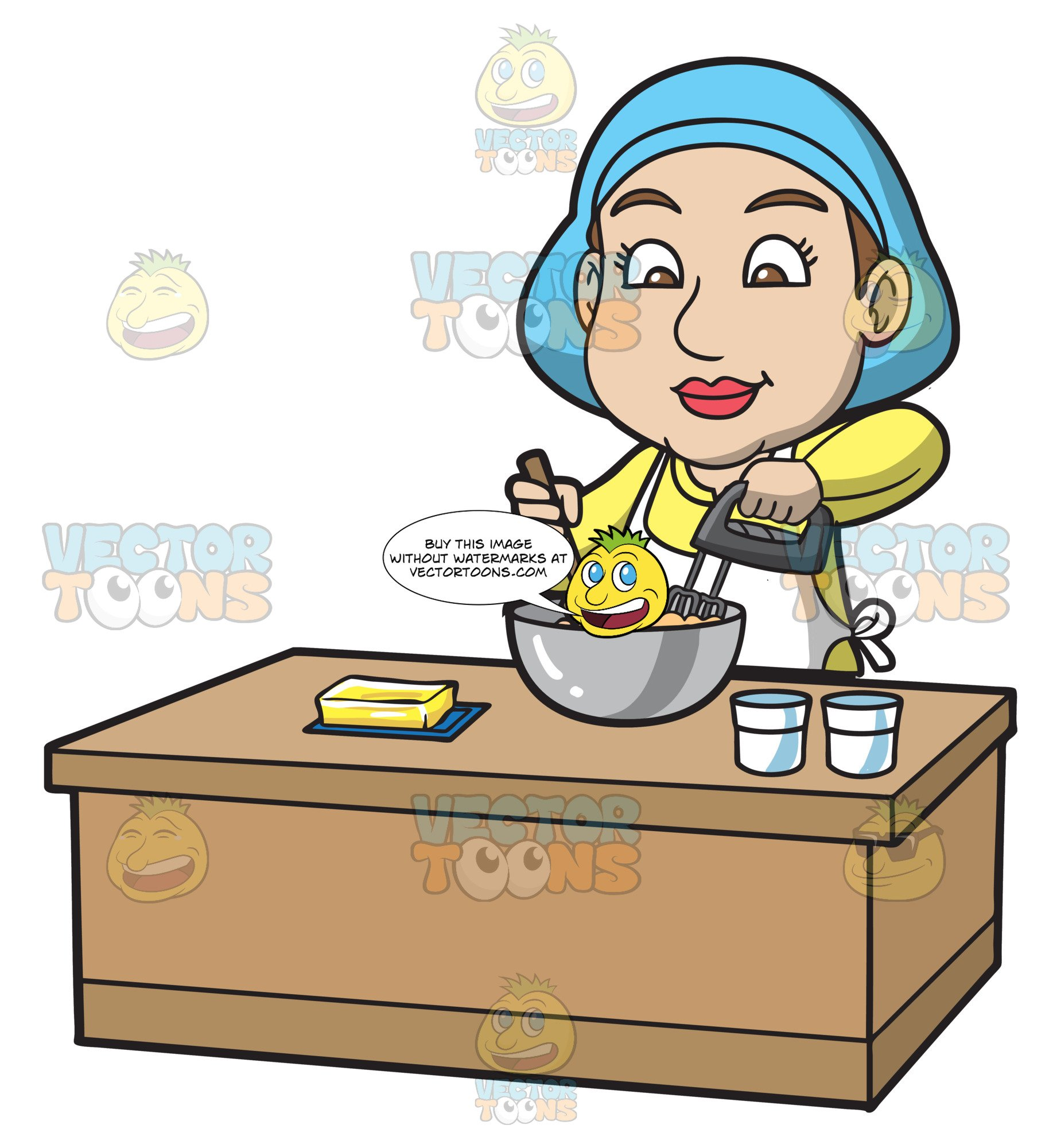 Cake batter clipart vector library library A Woman Mixing The Cake Batter vector library library