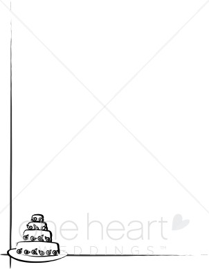 Cake borders clipart vector transparent download Black and White Wedding Cake Border | Party Borders vector transparent download