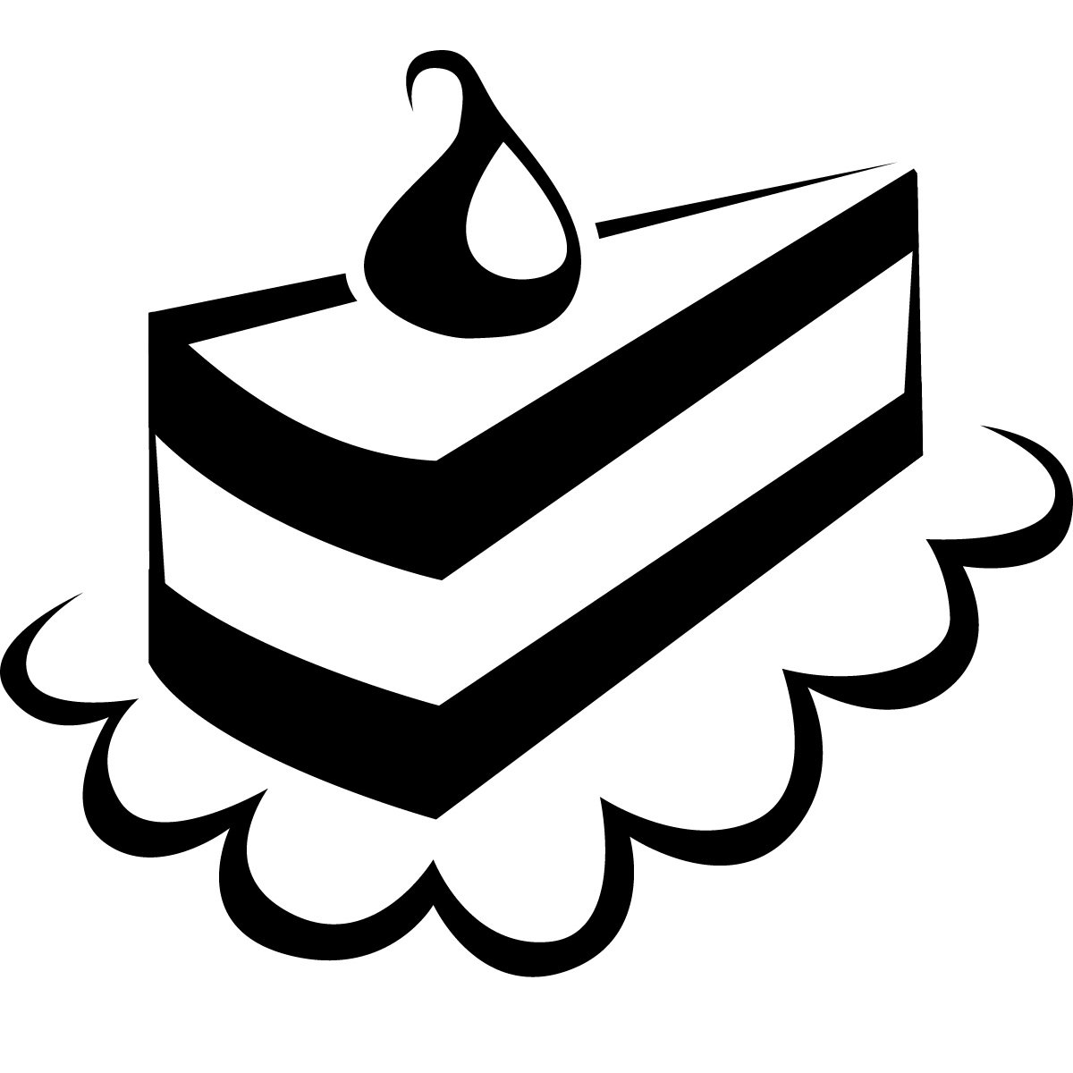 Of black and white. Cake clipart slice