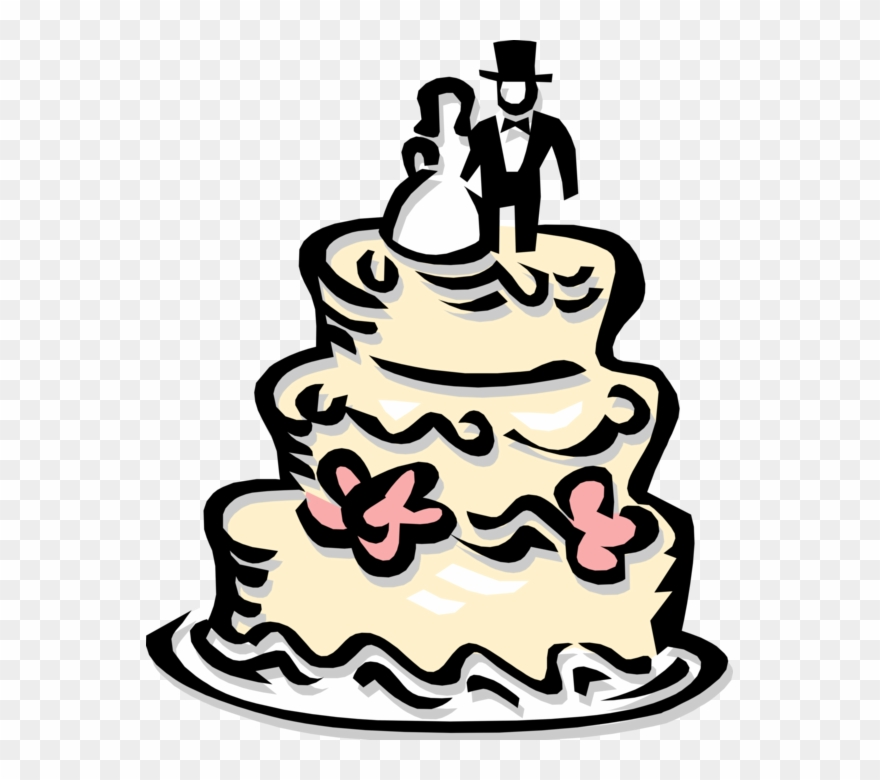Wedding cake clipart png black and white download Vector Illustration Of Wedding Cake Traditional Cake Clipart ... black and white download