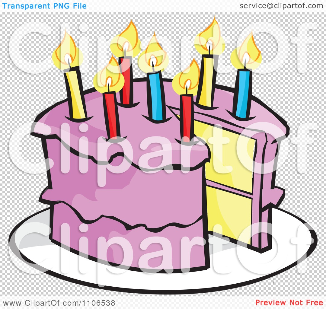 Cake slice clipart transparent background banner black and white stock Clipart Pink Birthday Cake With A Candle And Missing Piece ... banner black and white stock