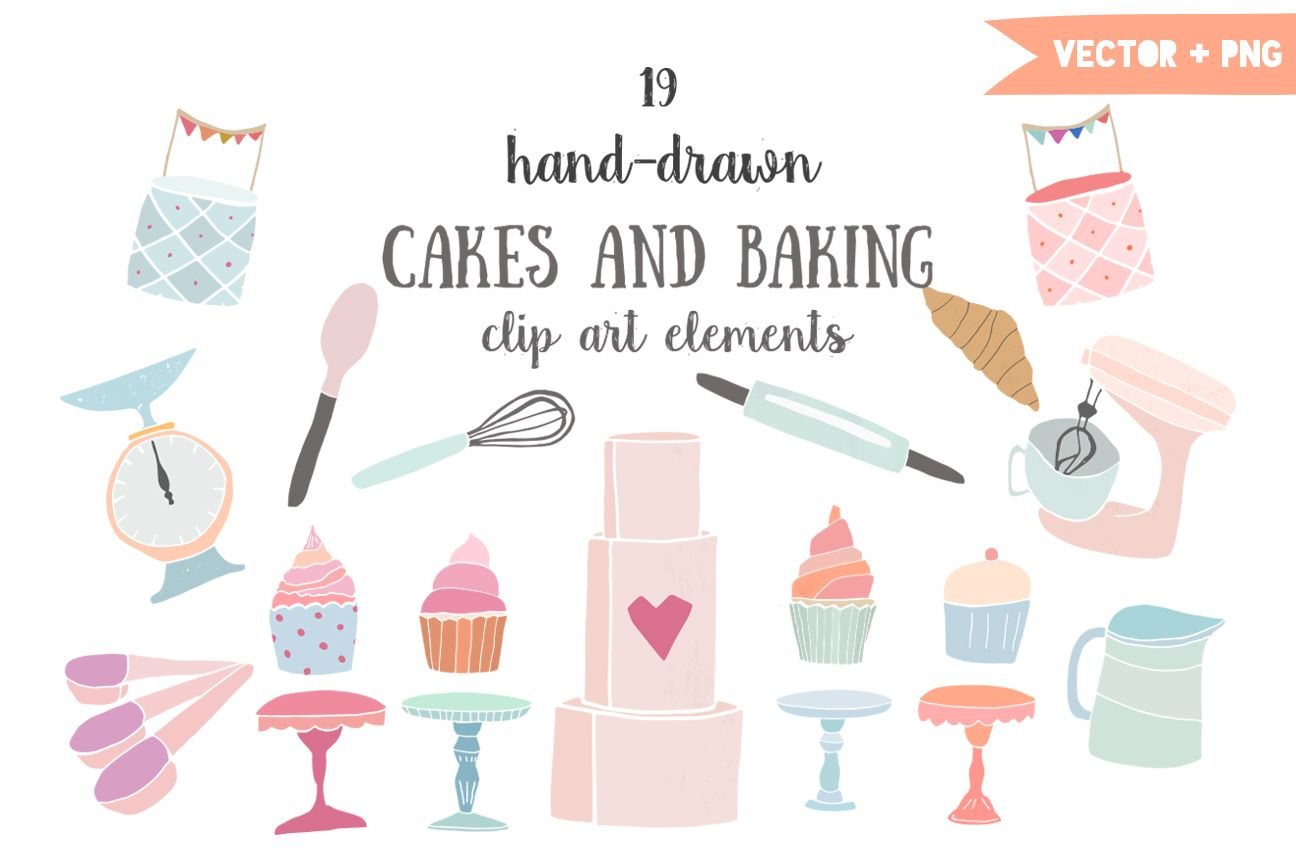 Cake stall clipart clip free download Cakes and baking clip art by The little cloud on Creative Market ... clip free download