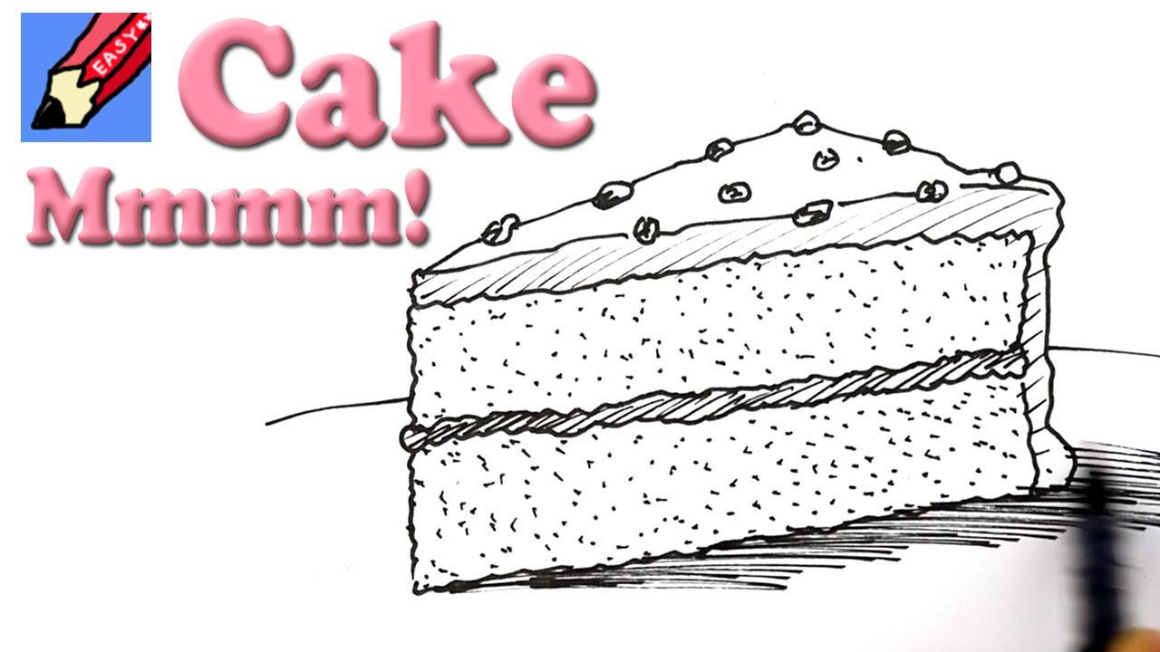 Cake with 1 slice cut off clipart banner free stock How to draw a Slice of Cake Real Easy banner free stock