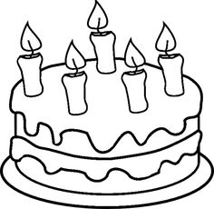 Cake with 6 candles black and white clipart image freeuse stock Birthday Cake Clipart Black And White | Free download best Birthday ... image freeuse stock