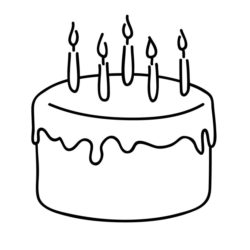 Cake with 6 candles black and white clipart svg freeuse stock Black and white cake clipart 6 » Clipart Station svg freeuse stock